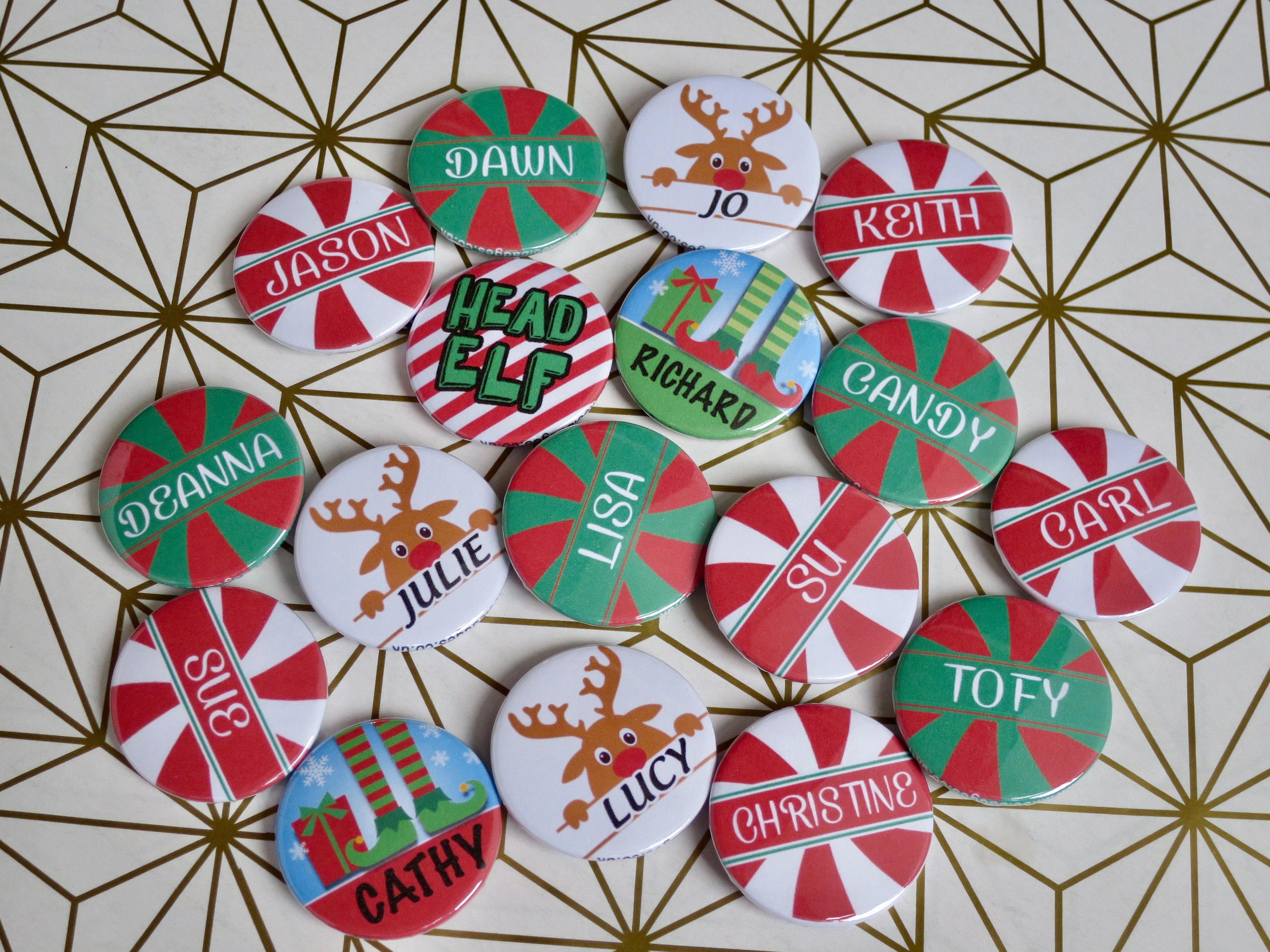 Our custom Christmas name badges have been super popular this year. Fun to wear…