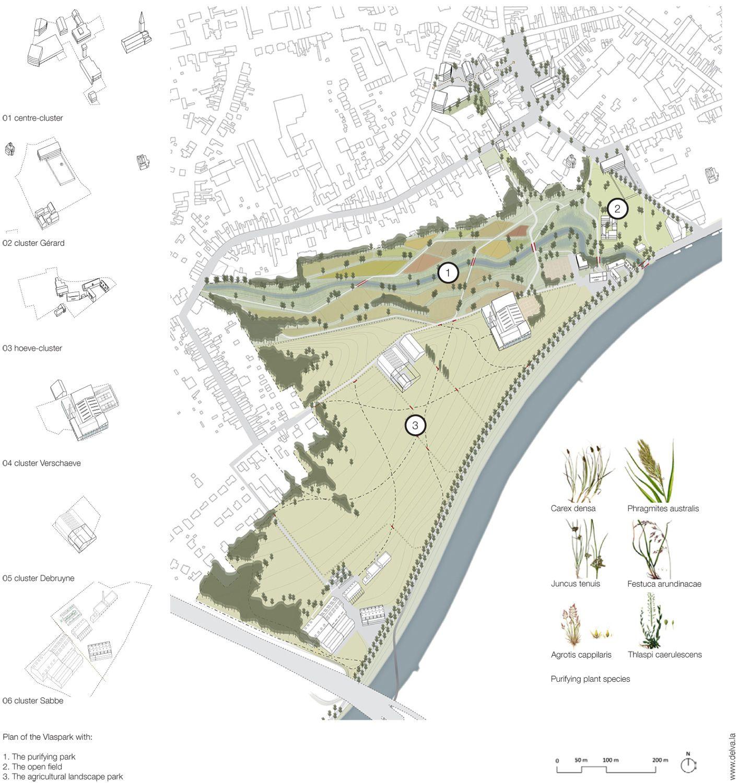 Bustler: DELVA Landscape Architects and plusofficearchitects designs Vlaspark concept for Kuurne, Belgium