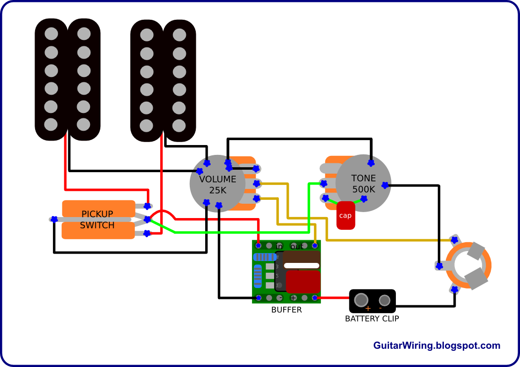 active guitar pickup wiring
