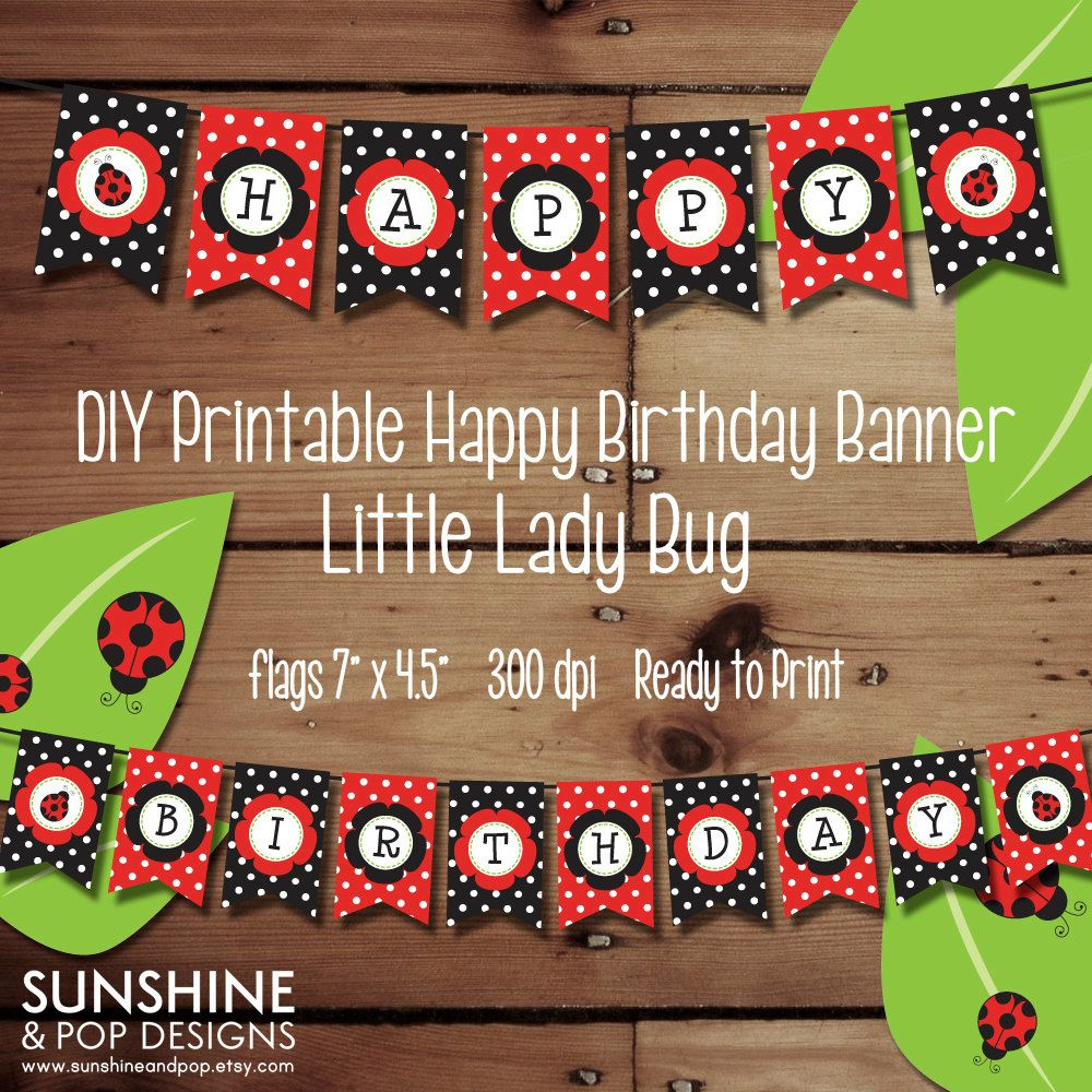 Lady Bug Printable Happy Birthday