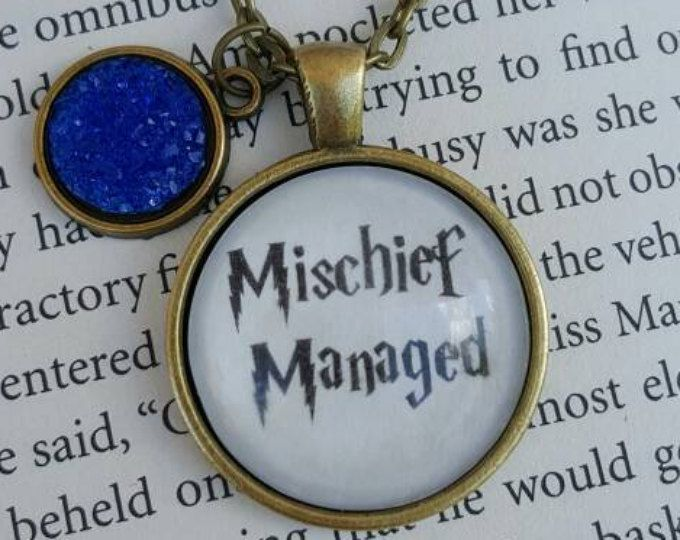 Mischief Managed Necklace Harry Potter Geeky Gift Jewelry