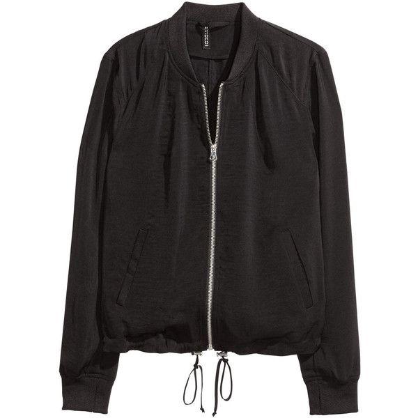 Bomber Jacket $34.99 (46 CAD) ❤ liked on Polyvore featuring outerwear, jackets, black, flight jacket, zip bomber jacket, bomber jacket, drawstring jacket and zipper jacket