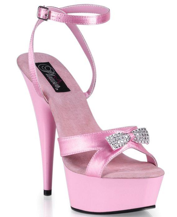 Pink Satin Rhinestone Bow Sexy 6 Inch Heels | Hot pink heels ...