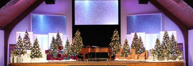 Christmas Display Stage Design Church DecorationsAltar