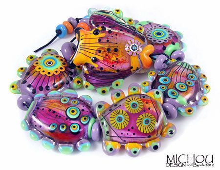 Oceanworld - romantically playful - Lamp-work Glass bead Set by Michou P. Anderson. $249.00, via Etsy.