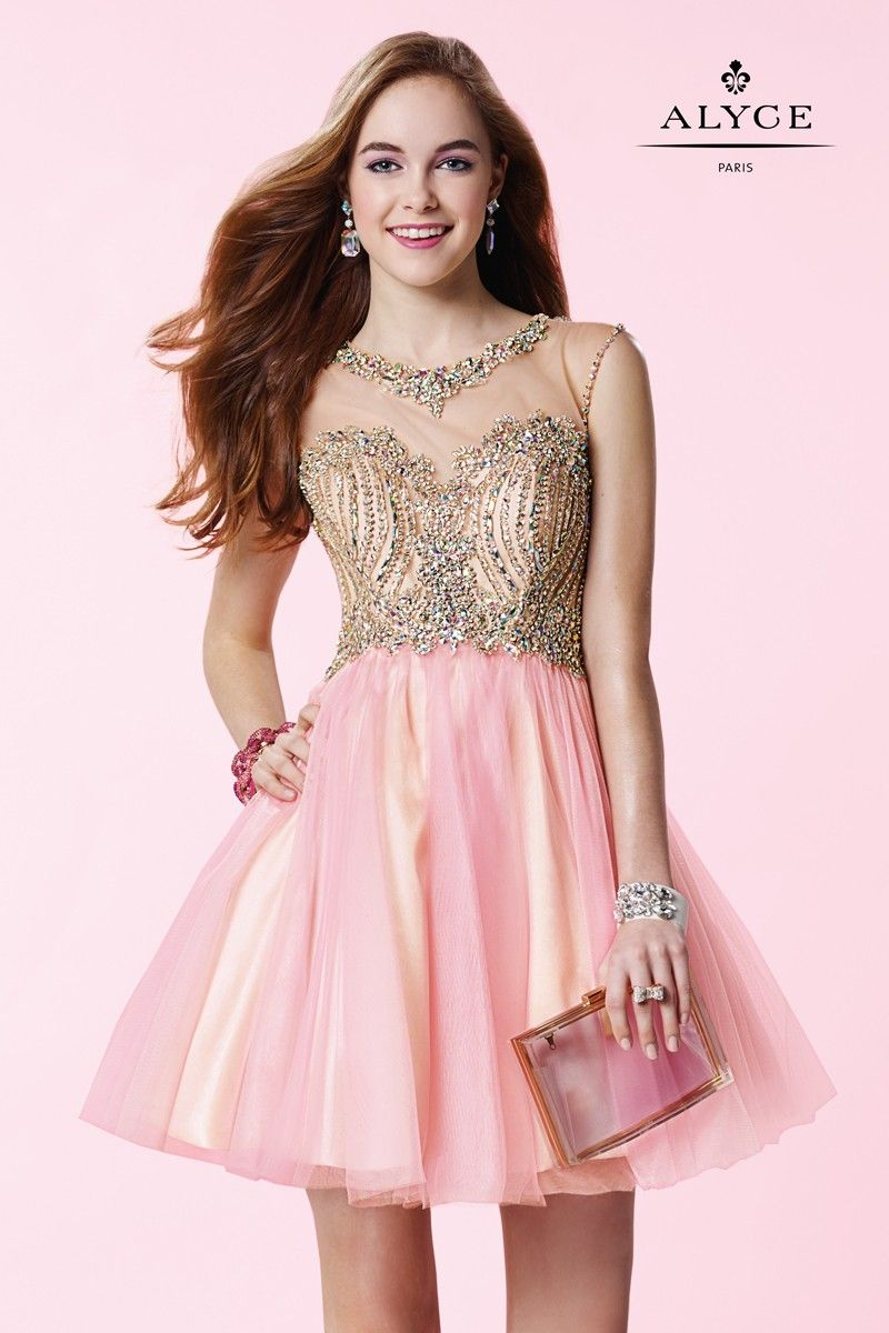 The alyce paris short dress features a fully beaded nude bodice