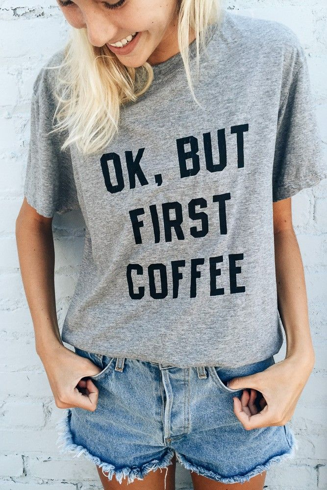Brandy ♥ Melville | But First Coffee Top - Graphics