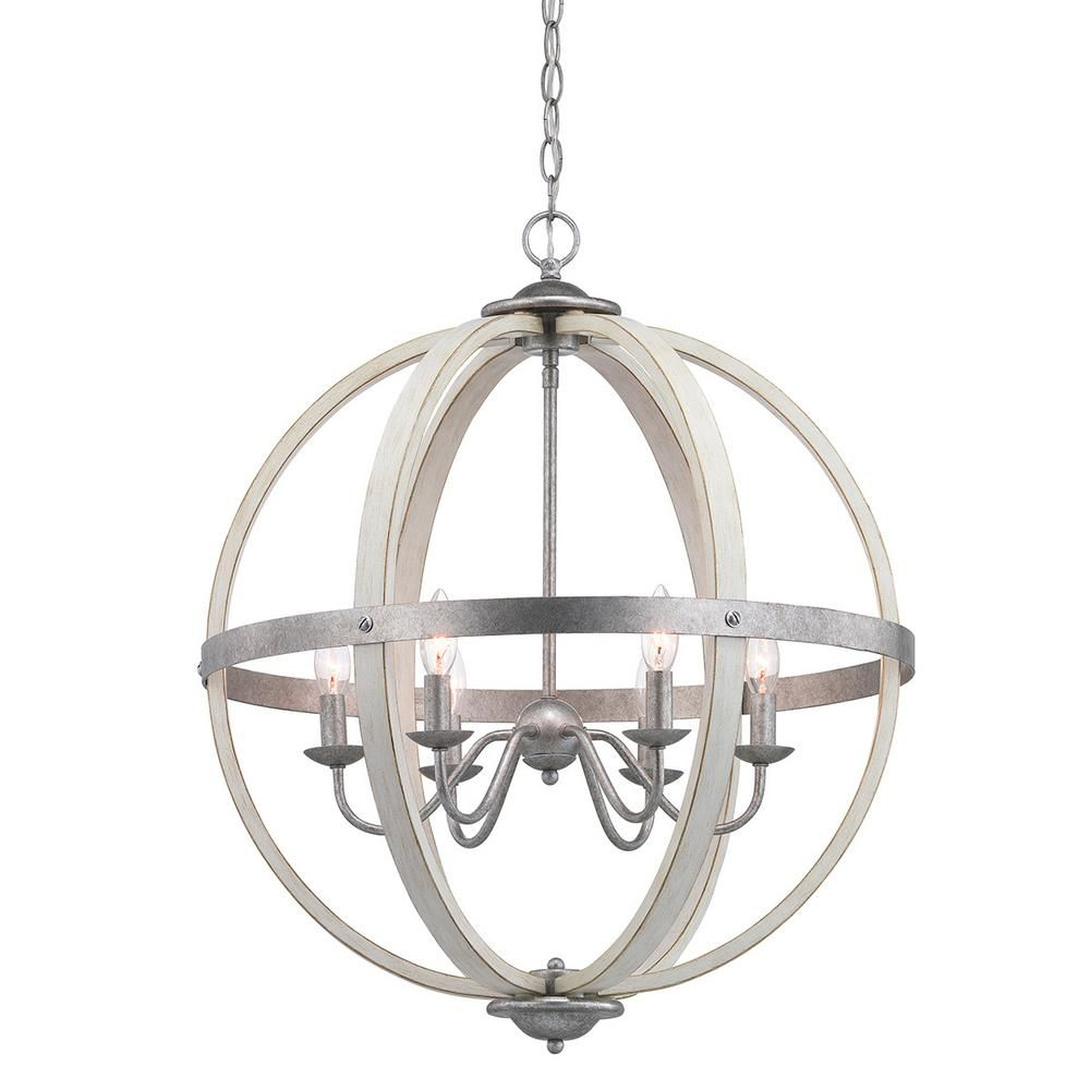 Progress Lighting Keowee 6 Light Galvanized Orb Chandelier With Antique White Wood Accents