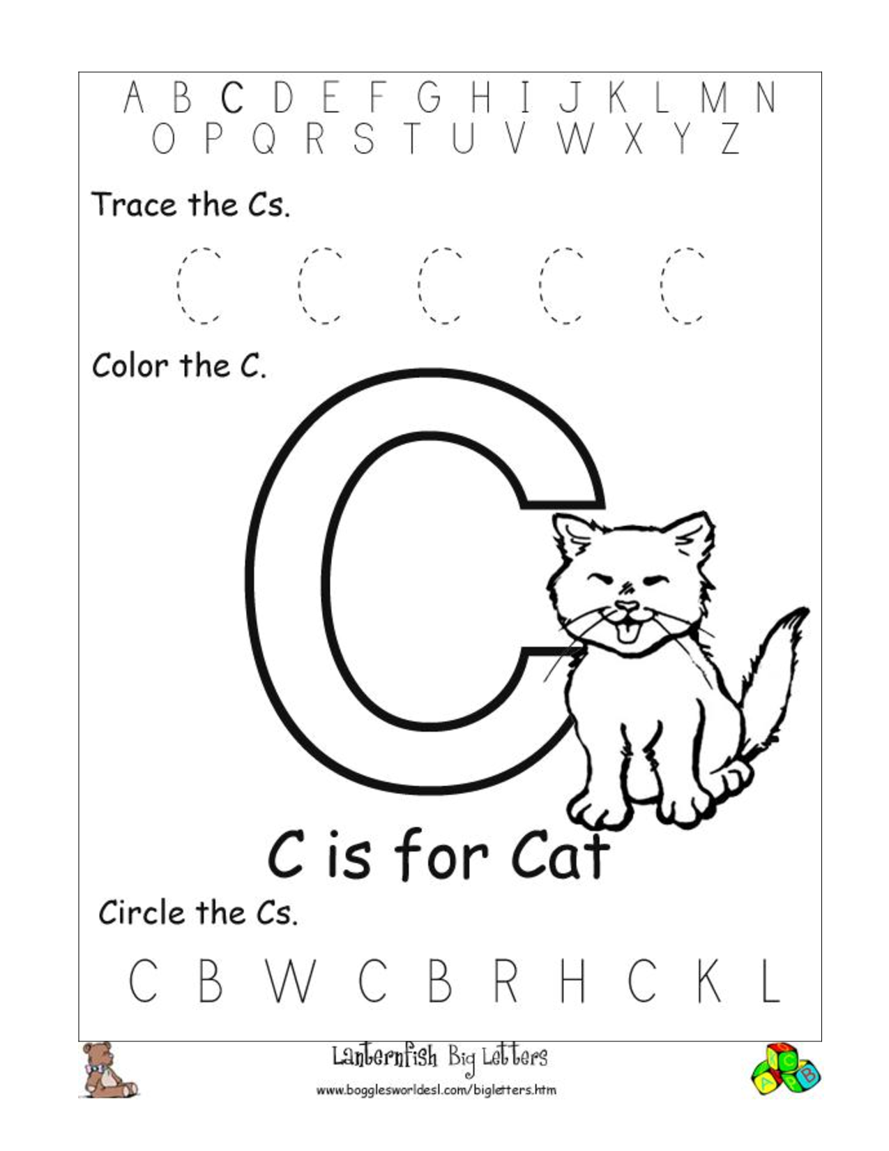 Worksheets Letter C Worksheets For Kindergarten c preschool worksheets letter worksheets
