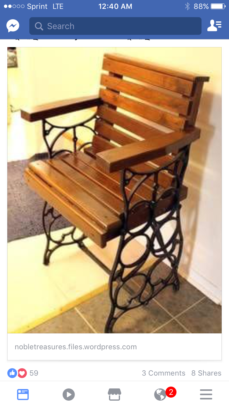Treadle Sewing Machine Base Repurposed Chair is about the coolest repurpose  project I've seen!