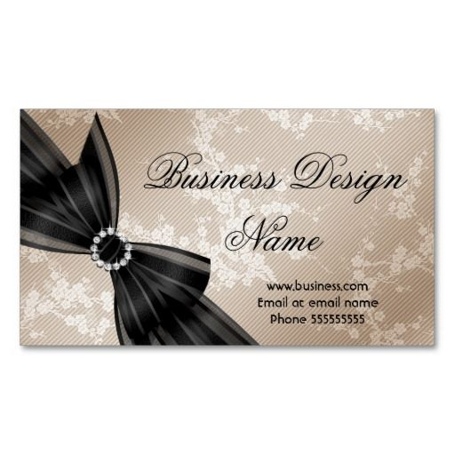 Elegant Floral Beige Blossom Black Diamond Bow Business Card Zazzle Com Floral Business Cards Printing Business Cards Hot Pink Diamonds