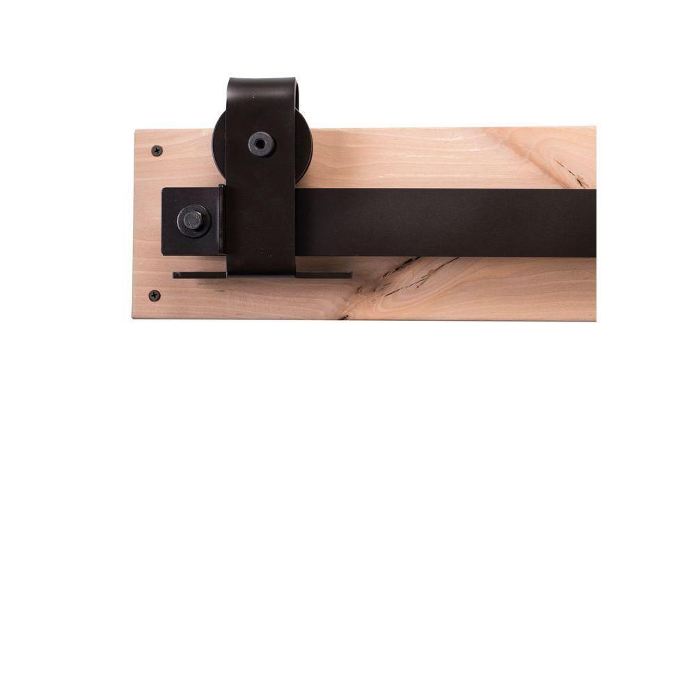 Rustica Hardware 84 in. Dark Bronze Sliding Barn Door Hardware Kit with Top Mount Industrial Hangers and Industric Pull, Oil Rubbed Bronze