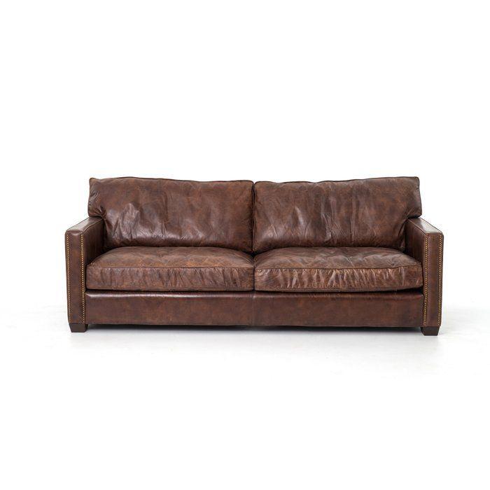 Grandfield Nailhead Leather Sofa Distressed Leather Sofa