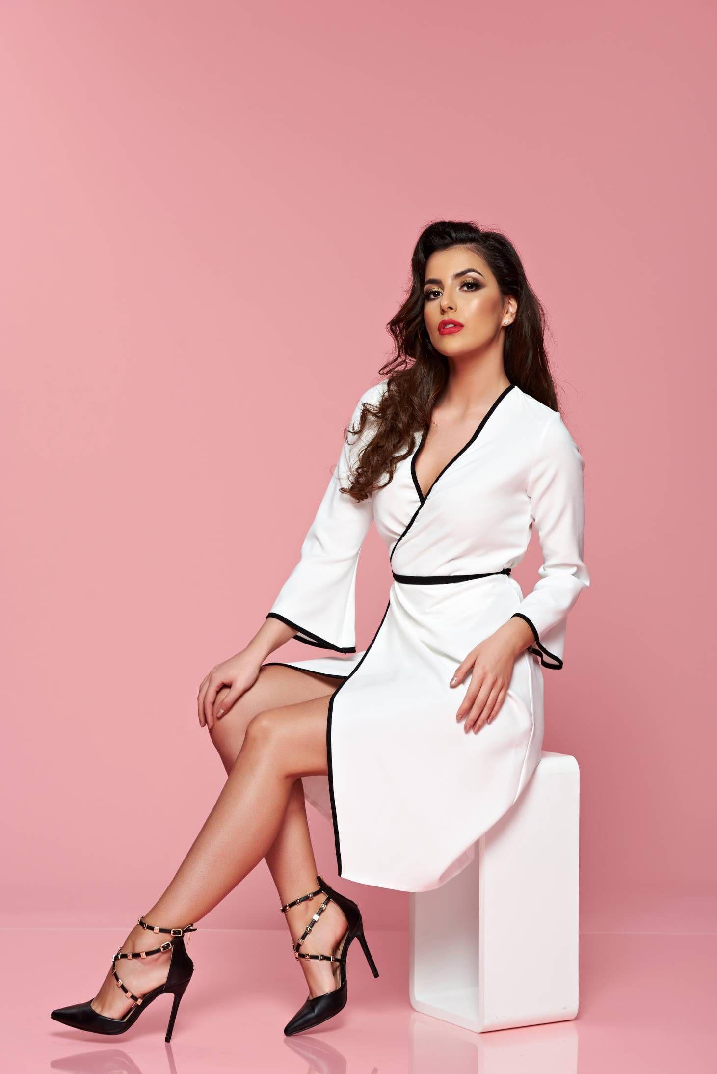 Starshiners Prettygirl White Wrap Around Dress With 3 4 Sleeves S028753 2 Wrap Around Dress Fashion Mini Dress [ 2188 x 1461 Pixel ]