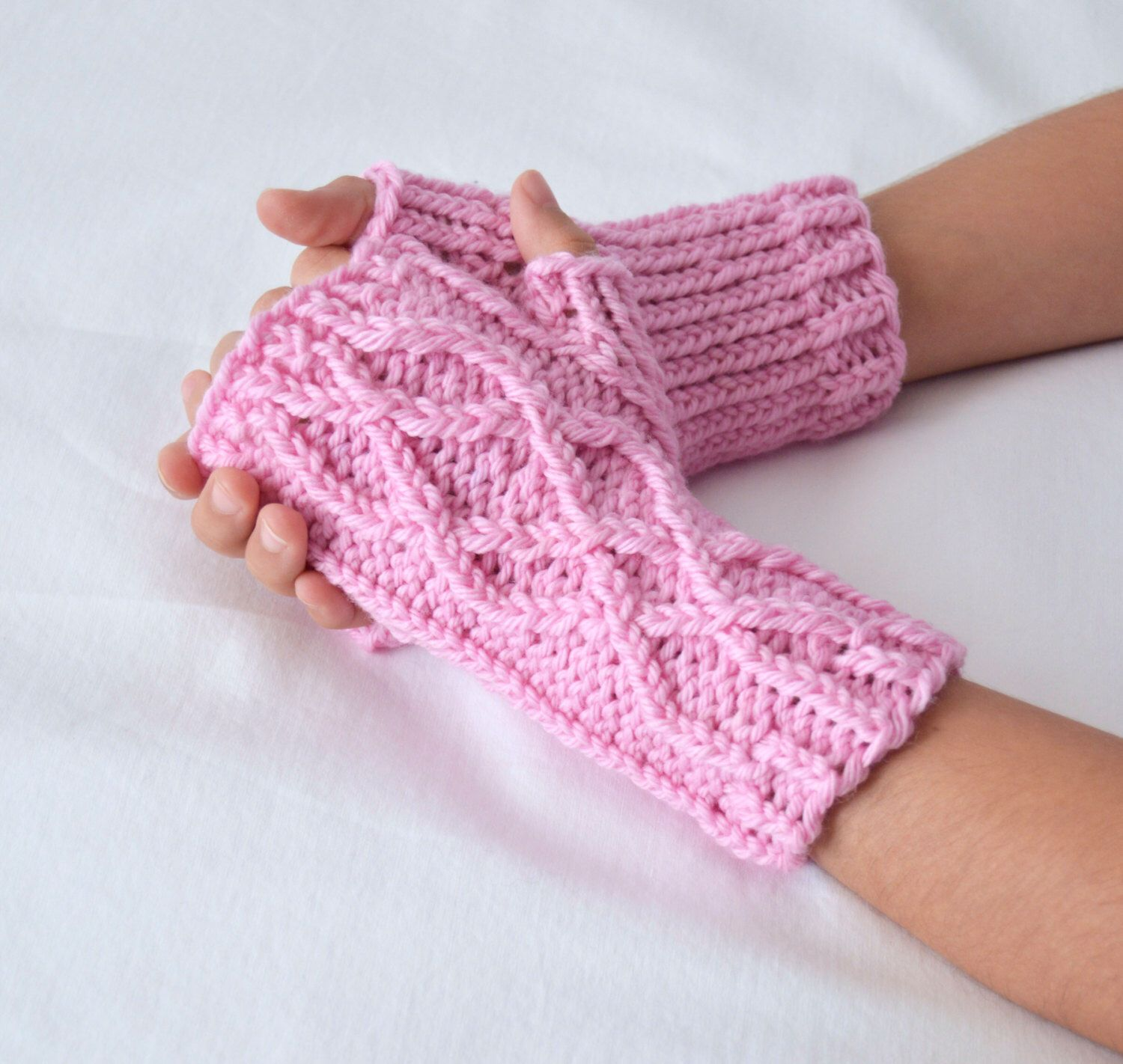 Pink Girls Mittens, Cable Knit, Fingerless Gloves, Kids Knitwear ...