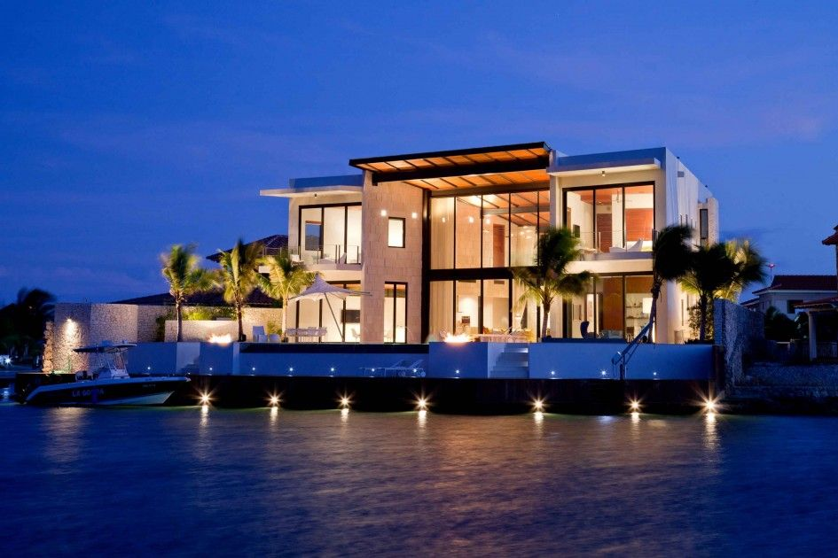 Architecture 2 Story Contemporary Luxury Beach House Plan With Boat Dock And Palm Trees On Landscaping D Beautiful Beach Houses Beach House Design Architecture