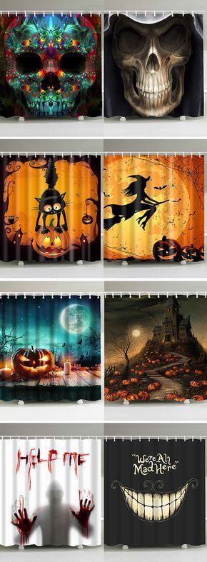 halloween decor ideashalloween shower curtains goth Pinterest