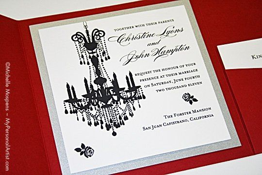 Chandelier wedding theme google search for lauren pinterest black and white wedding invitations with chandelier art mozeypictures Image collections
