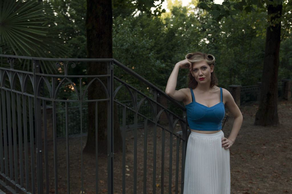 Jack Sandalina Photography vintage girl white pleated skirt blue top