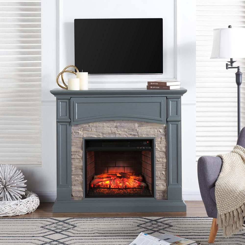 Conway 4575 in w electric media fireplace in gray cool