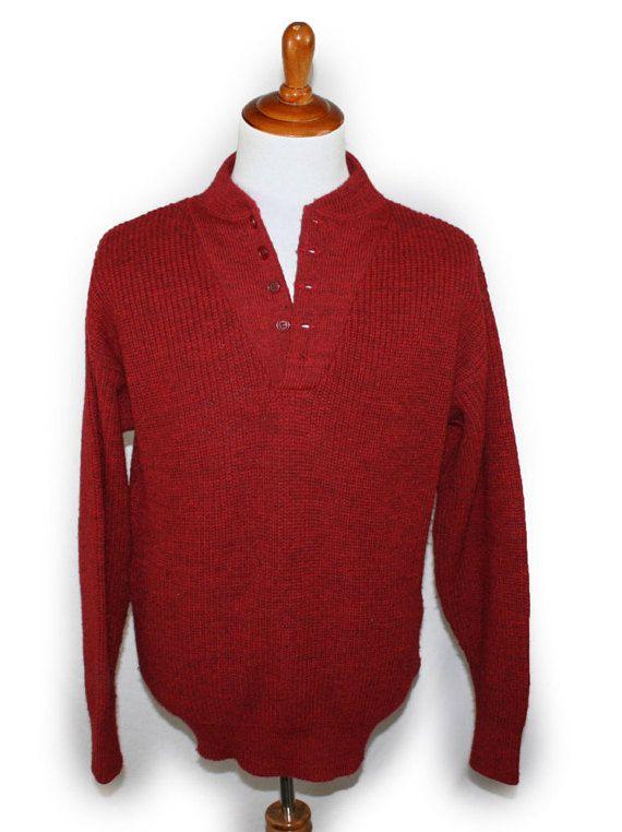 Vintage Mens Sweater Ll Bean Wool Commando Pullover Jumper Button