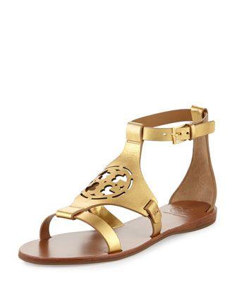 b235bf5e627 Zoey Leather Logo Flat Sandal