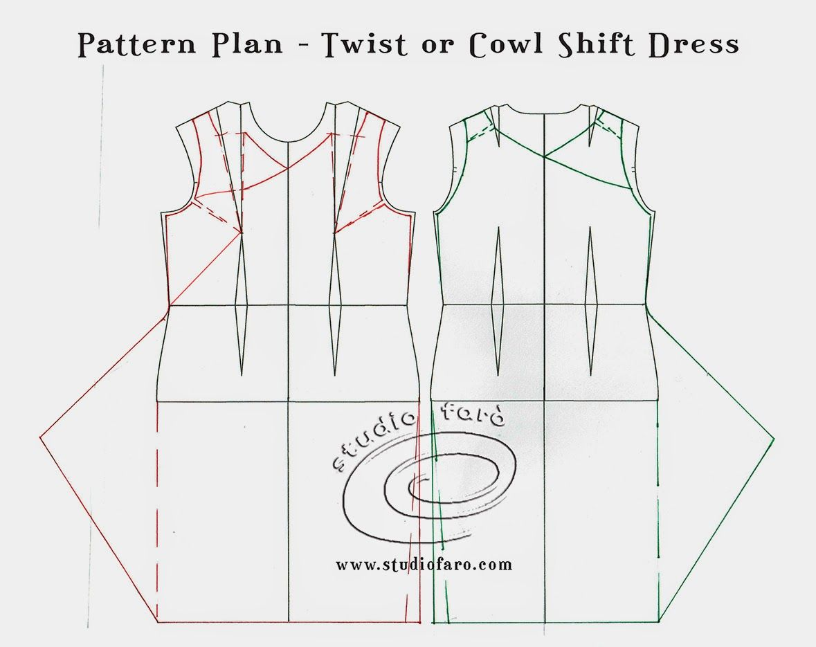 well-suited: PatternPuzzle - Twist or Cowl Shift Dress | patrones ...
