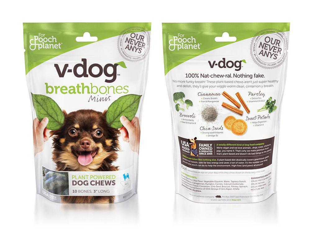 V Dog Breathbones Package Design Vegan Dog Food Stand Up Pouch