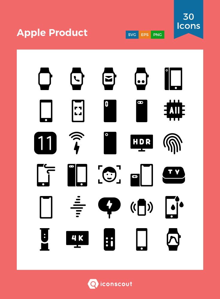 Download Apple Product Icon Pack - 30 Solid Icons | Icon pack ...