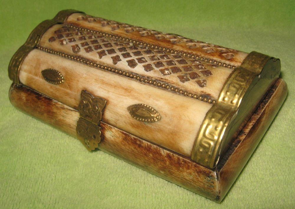 camel bone jewelry trinket box velvet lined owl bird brass detail