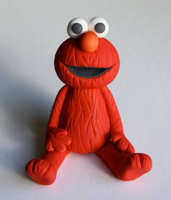 Fondant Elmo With Number Cake Topper By Kimseeeun On Etsy