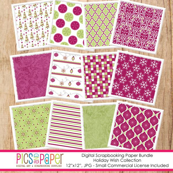 Holiday Wish Papers - beautiful papers for paper goods, invitations, crafts and more.