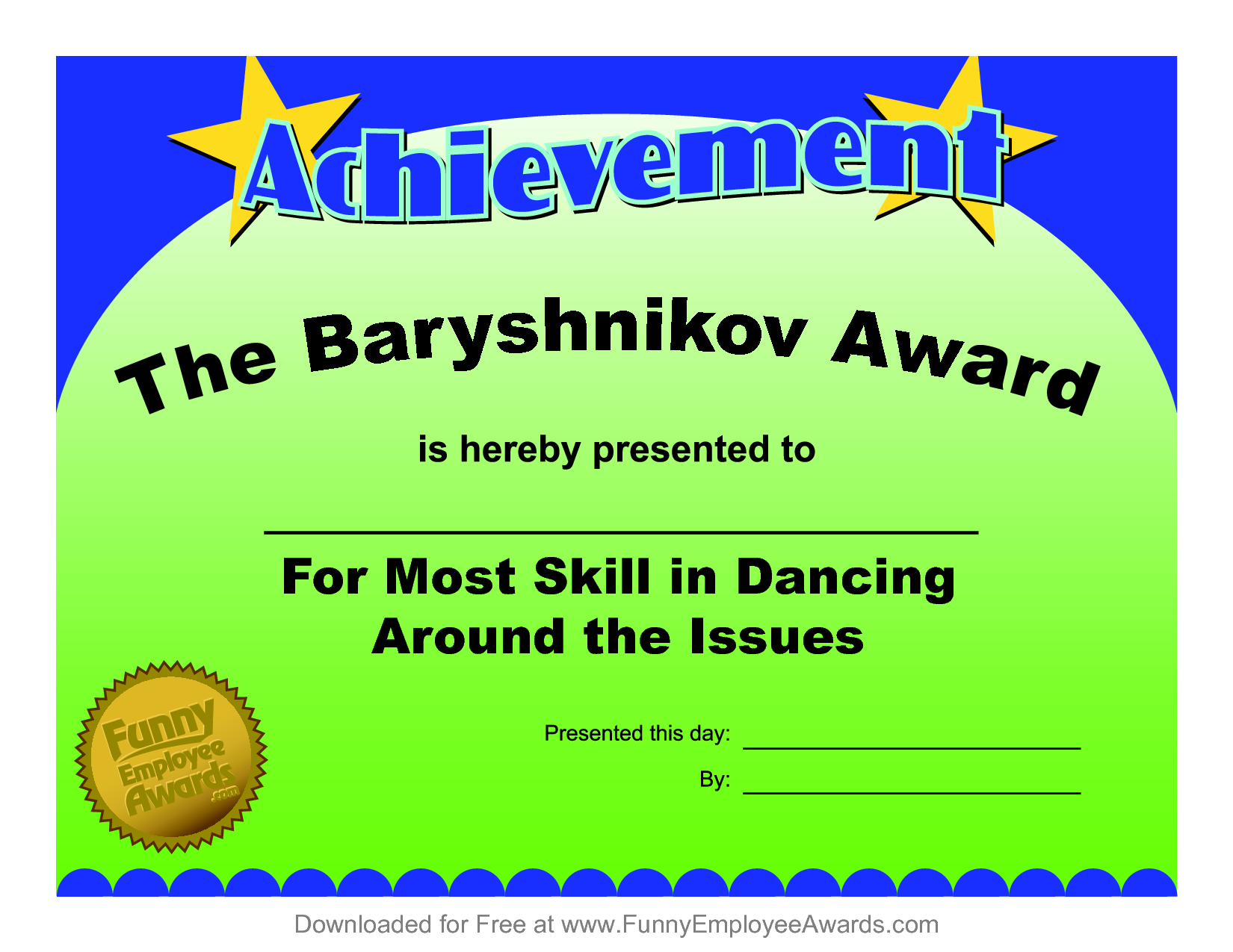 funny printable awards  Certificates Fun Certificate from Funny Employee he Bar yshnikov ...