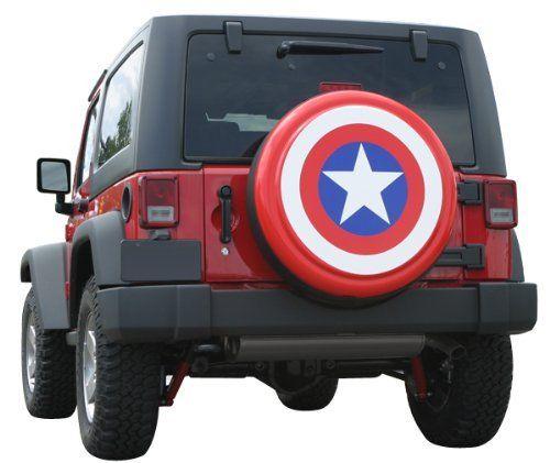 32 Captain America Style Shield Spare Tire Cover Molded Plastic