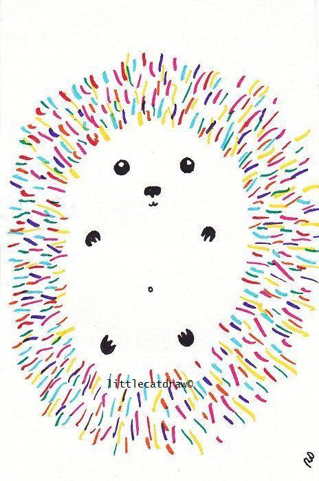 Cute Hedgehog Drawing Rainbow Spikes Art Drawing Paintings