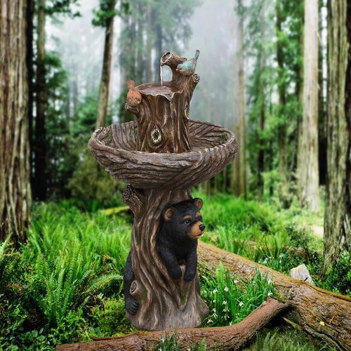 Enchanted Garden Bear And Birds On A Tree Stump Outdoor