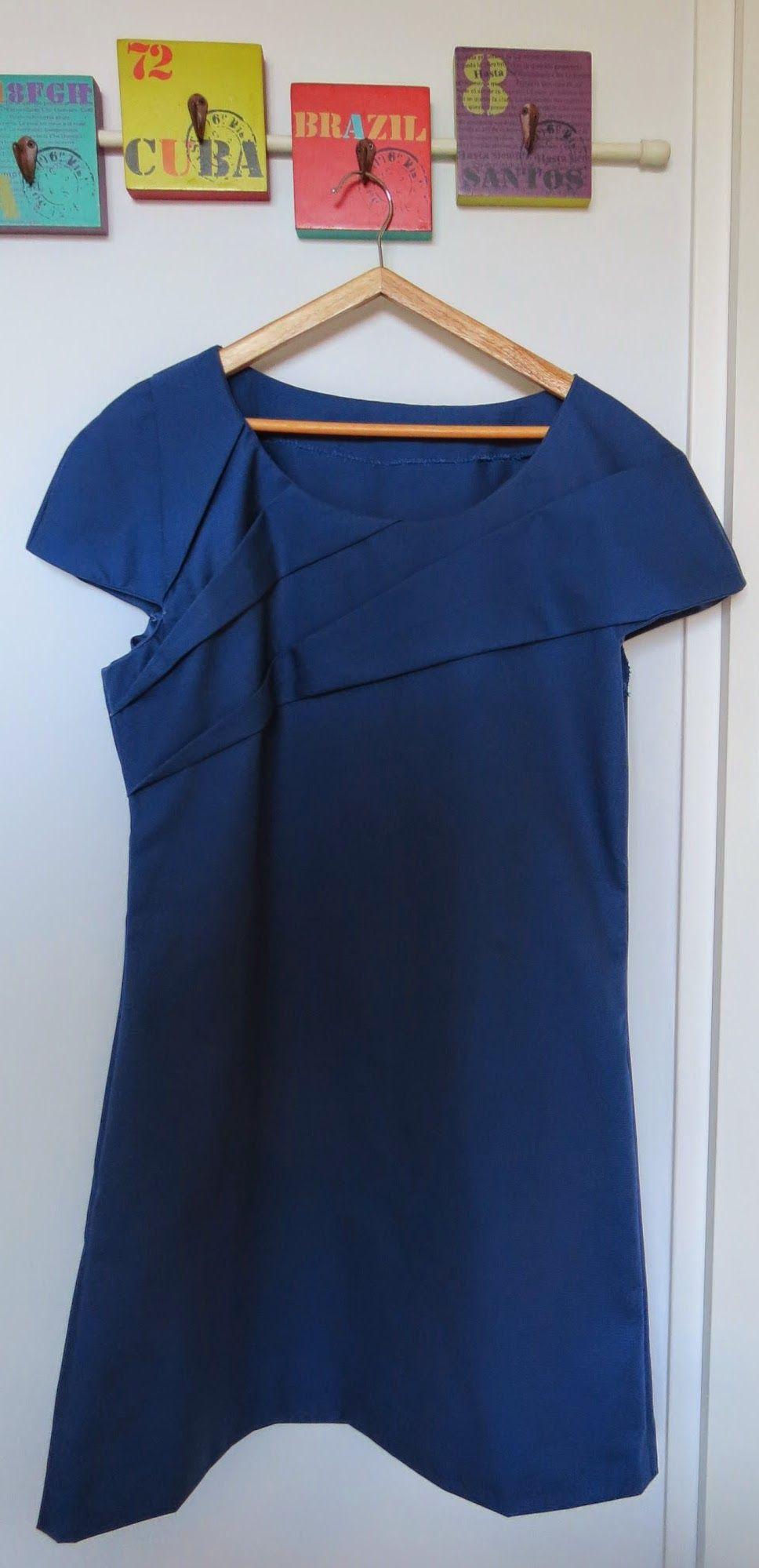 Blue origami dress 100% cotton