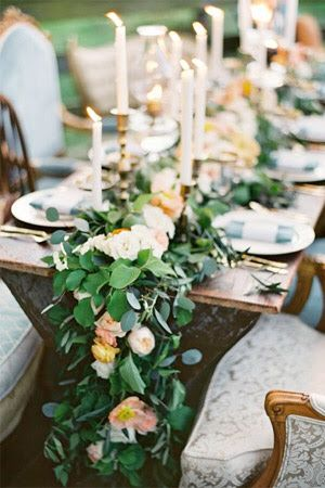 Perfect Table Setting. Bride And Groom Table Or Centre Table