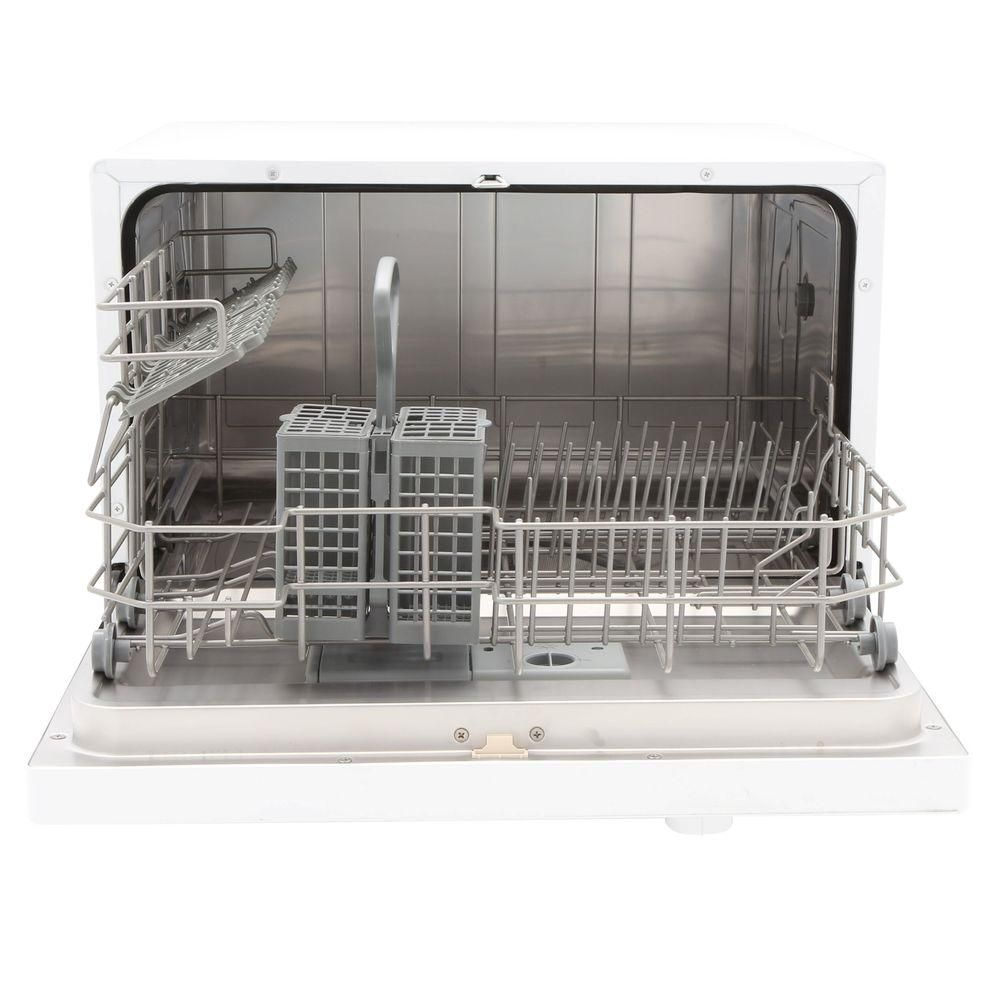 Magic Chef Countertop Portable Dishwasher In White With 6 Place