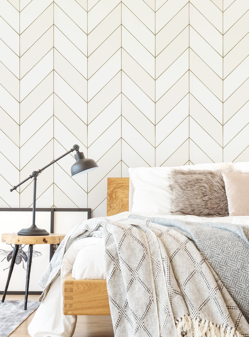 Gold Lines Chevron Wallpaper Off White Self Adhesive Fabric Etsy In 2021 White And Gold Wallpaper Chevron Wallpaper Gold Wallpaper Bedroom