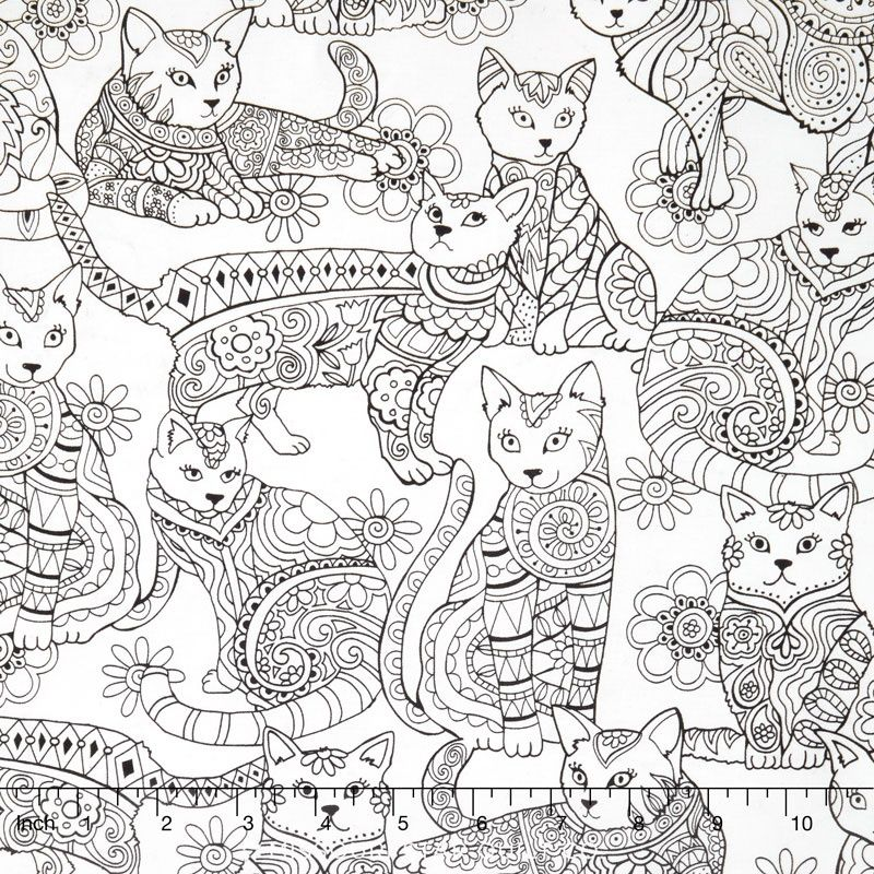 Cats - Cat Coloring White Yardage | COLOR- CATS | Pinterest | Cat ...