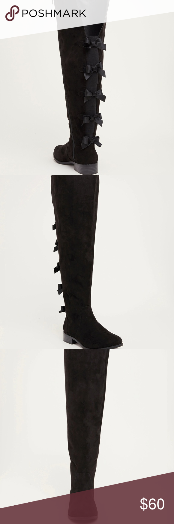 2db66793e4a Torrid Boots Wide Calf Black Bow Back Zip Tall Bow Back Over the Knee High  Boots By TORRID New with box Size 12 Wide Approx. Length Inside  11 1 4