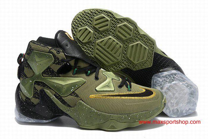 ab997a6b53f9 LeBron XIII ASG ArmyGreen Black Golden Dots Mens Basketball Shoes ...