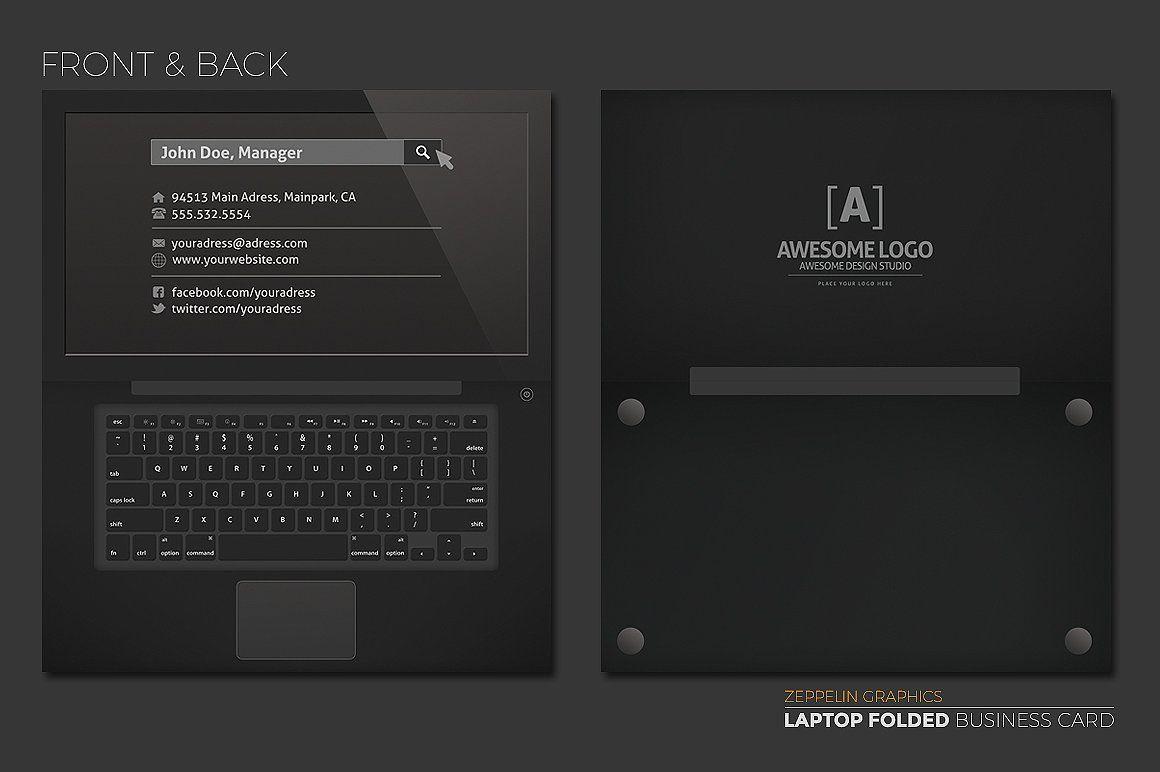 Laptop Business Card Black Edition Business Card Black Folded Business Cards Business Cards