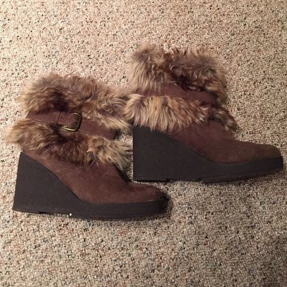 Fur booties Brown booties with fur around ankles. Brand is Forever 21. Size 7! Like brand new :) Forever 21 Shoes