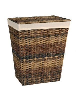 Handwoven Lidded Laundry Hamper With Canvas Liner Brown
