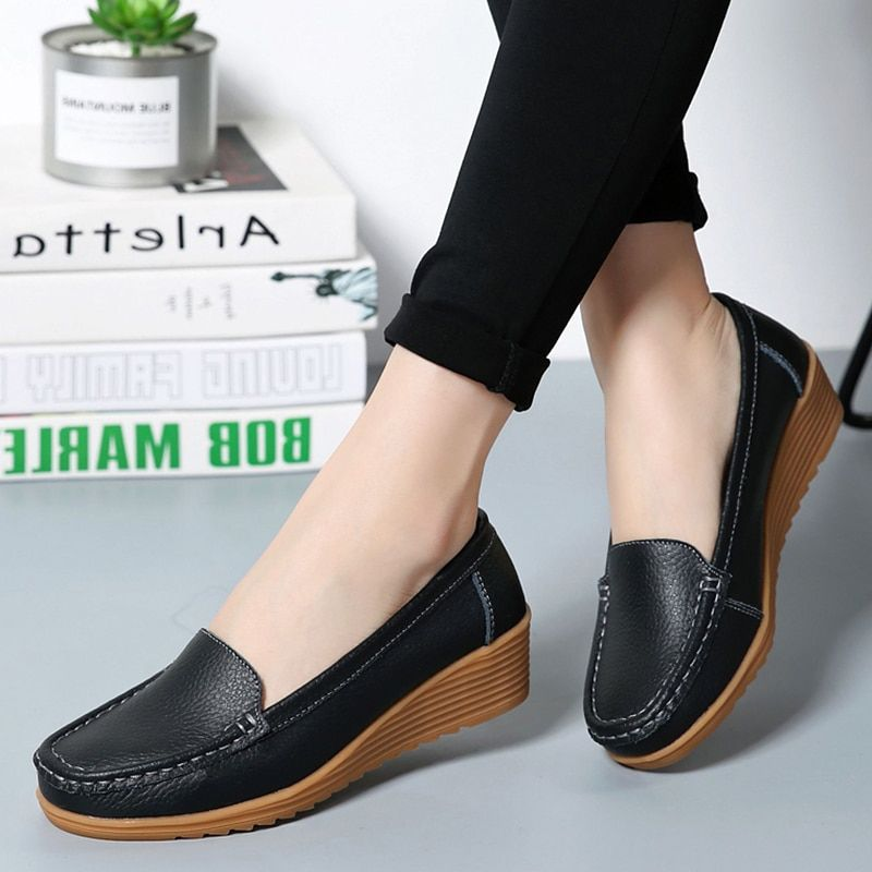 b7e813db7a9a Women Flats 2019 Spring Summer Shoes Women Heels 4.3CM Genuine Leather  Chaussures Femme Casual Women Loafers Ballet Flat Shoes(China)