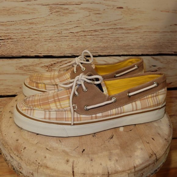 Sperry yellow & khaki Plaid Sneakers 8 Sperry yellow & khaki Plaid Sneakers 8, excellent pre-owned condition. Sperry Top-Sider Shoes Sneakers