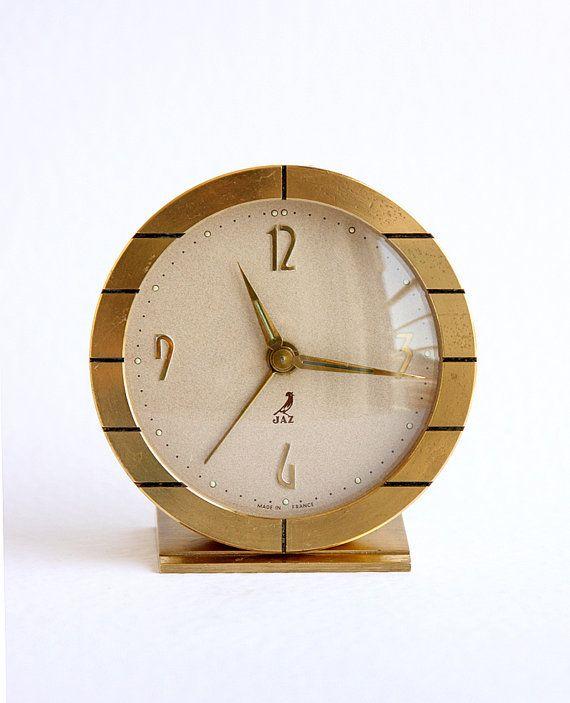 Vintage French Alarm Clock Jaz Table Clock Brass By Bluepalette