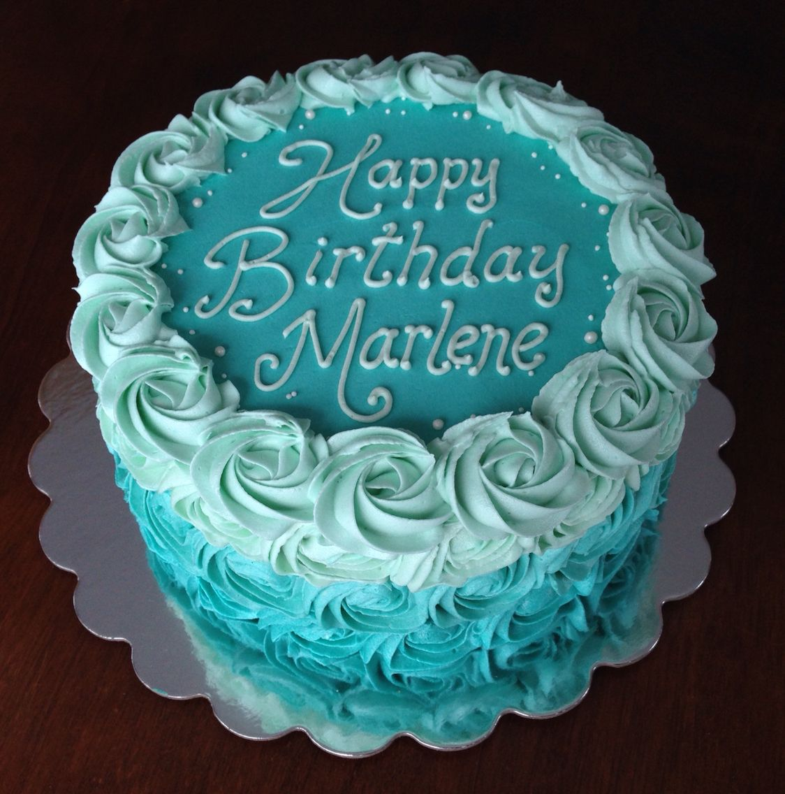 Teal Turquoise Ombre Buttercream Rosette Birthday Cake With